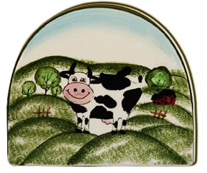 cow porcelain kitchen napkin holder