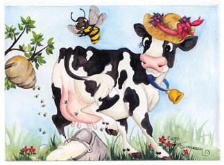 cow bee greeting card