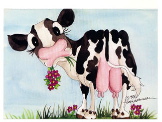 cow udder greeting card