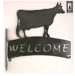 cow metal welcome sign