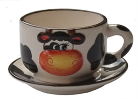 cow kitchen porcelain cup saucer