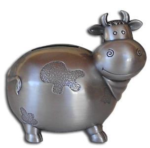 cow pewter bank