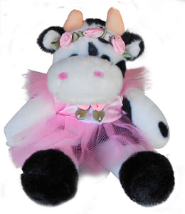 pink dress cow kids plush
