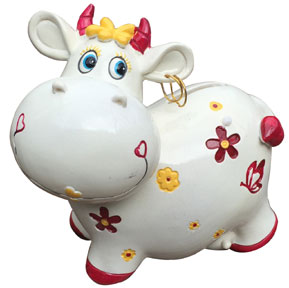 cow kids porcelain bank