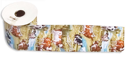 cow party print wide ribbon