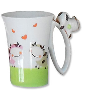 cow long handle kitchen mug