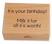 cow birthday rubber stamp