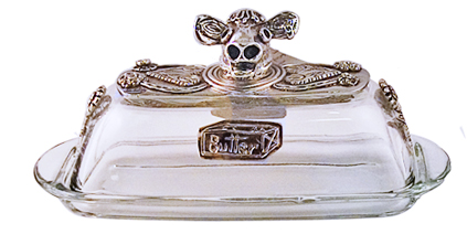 cow silver butter dish