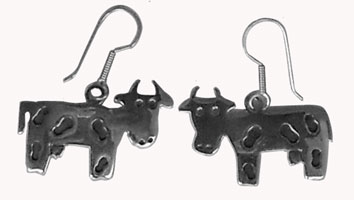 cow silver earrings