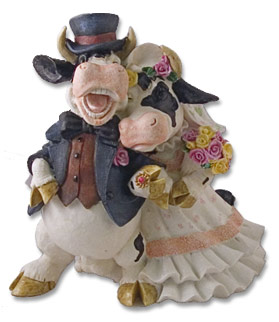 cow wedding statue cake topper